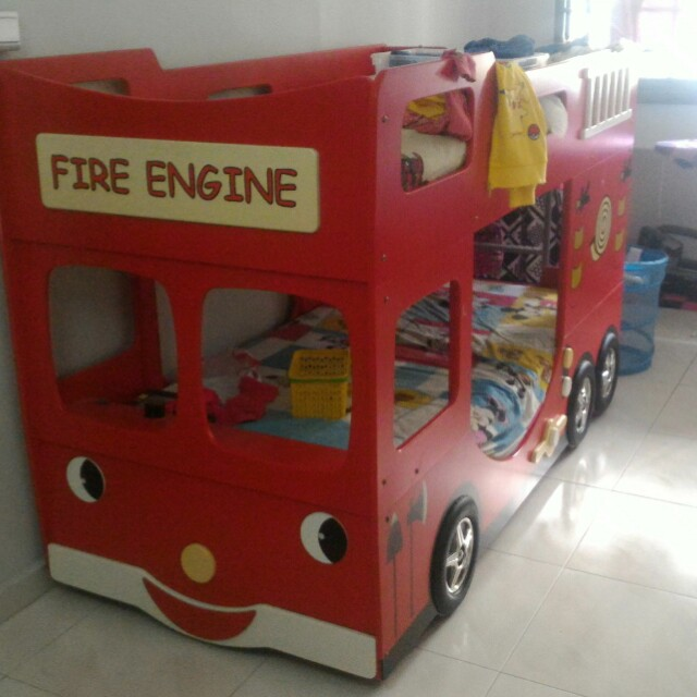 Fire Engine Double Decker Bed Frame Furniture Beds Mattresses On