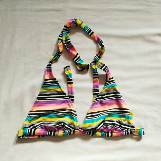 Fixed Triangle Striped Bikini