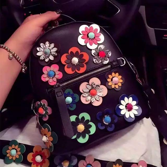 Floral Genuine Backpack/Crossbody Bag