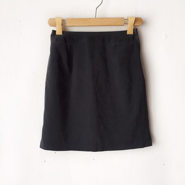 Gray suede a-line office skirt