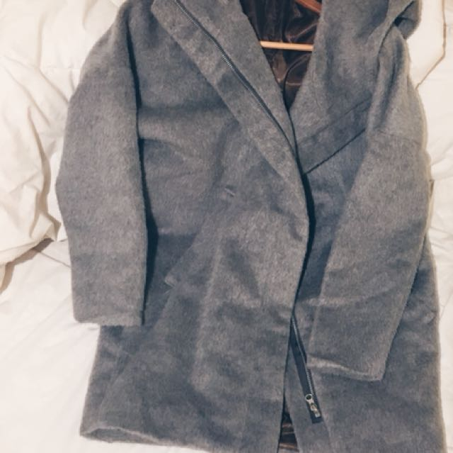 Grey Fur Coat With Hoodie