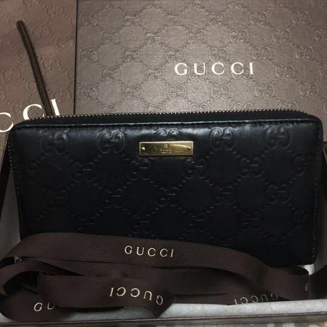Gucci經典牛皮壓紋長夾
