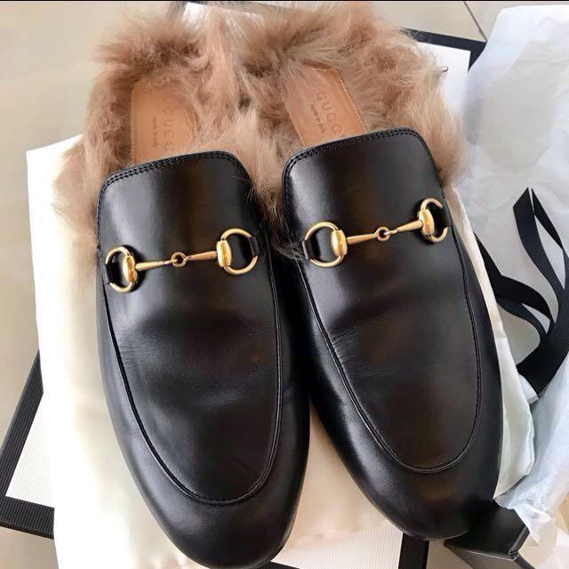 Gucci 皮草 樂福鞋