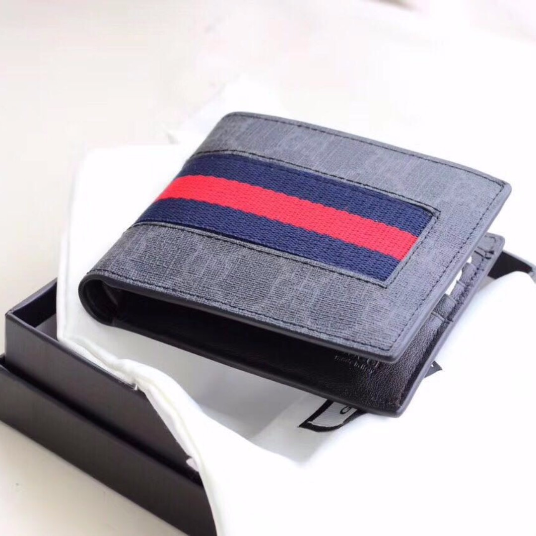 a29964ca1c1 GUCCI Leather Signature Pattern Wallets Cream  Black