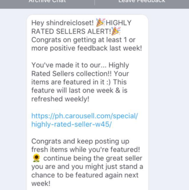 Highly rated seller! Thanks again carousell team!💕💕💕