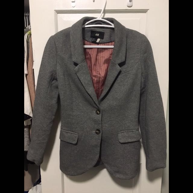 H&M grey blazer with brown elbow patches
