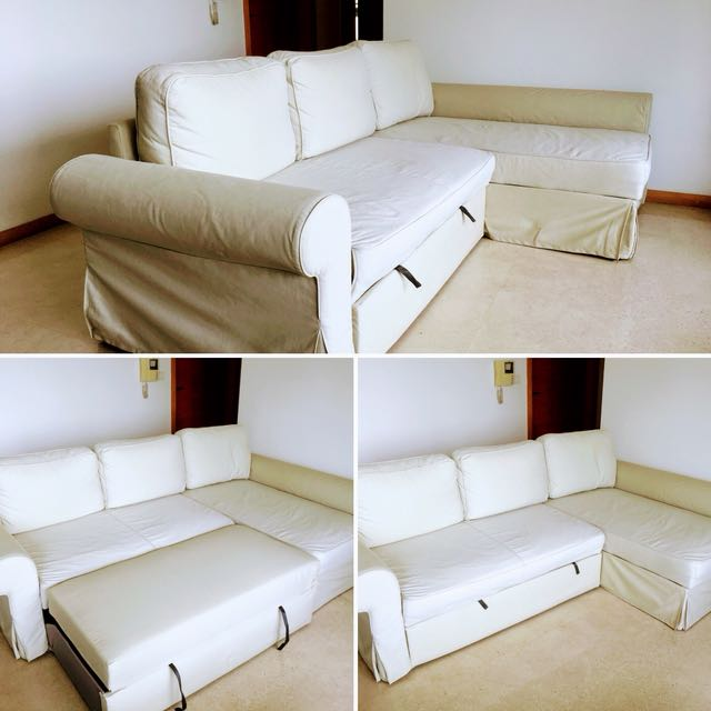 Ikea Backabro Sofa Bed With Chaise Longue Ramna Beige Furniture