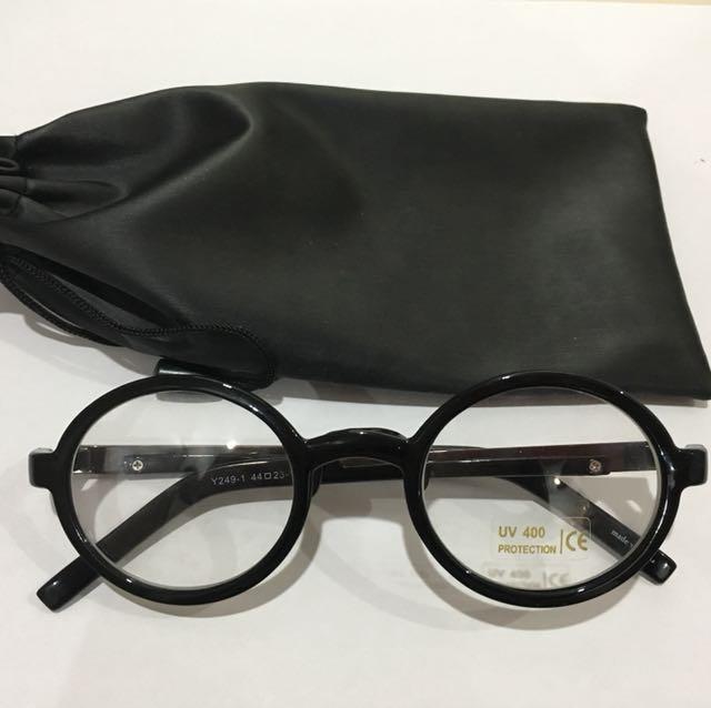 Korean Black Round Rimmed Cute Nerd UV Glasses