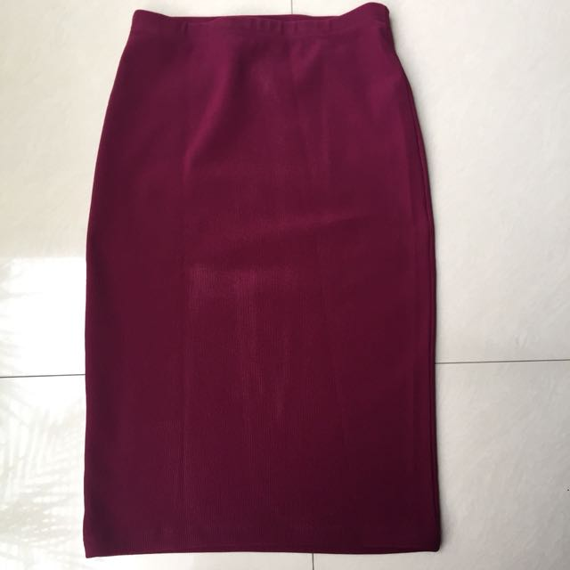 maroon midi skirt by forever21