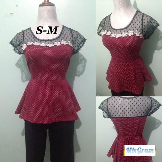 Maroon peplum blouse