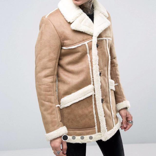 Men's Suede/Faux Shearling Winter Jacket