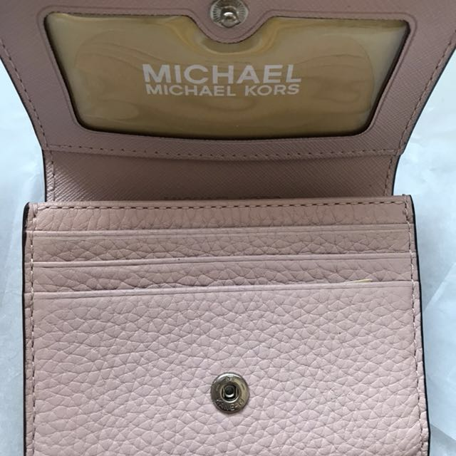 4e5b98cbc96b Michael Kors Fulton Snap Credit Card Case Wallet Purse Pink Blossom  Leather