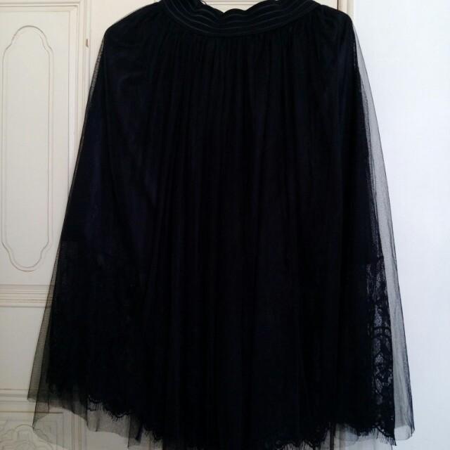 《八成新》MOST 黑色蕾絲浪漫網紗長裙