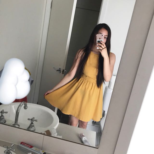 Mustard Yellow Chiffon Dress ☁️