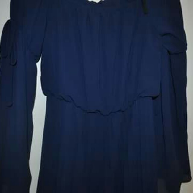 Navy Chiffon Short Dress w Ties