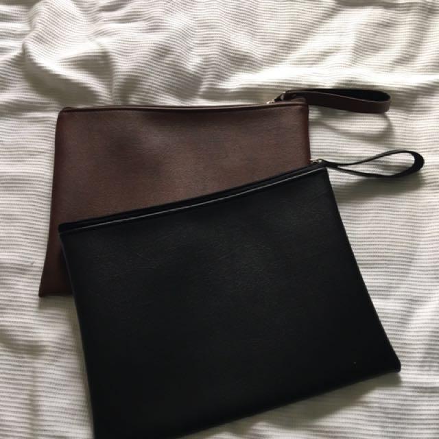 *new*Pleather big wallet clutch bag brown & black