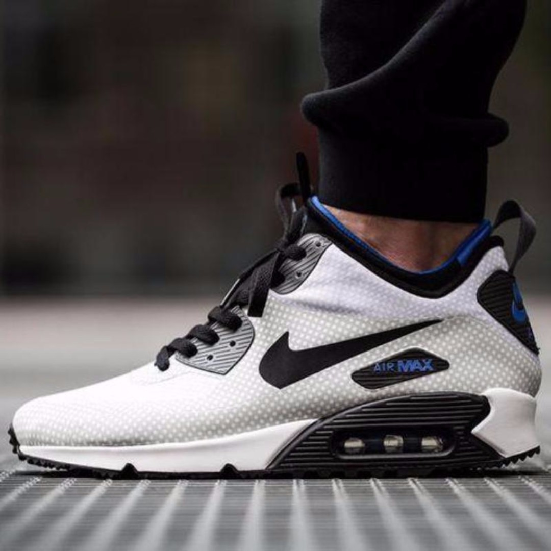 657b5c6138 Nike Air Max 90 Mid Winter Print (Night Silver & Black), Men's Fashion,  Footwear on Carousell