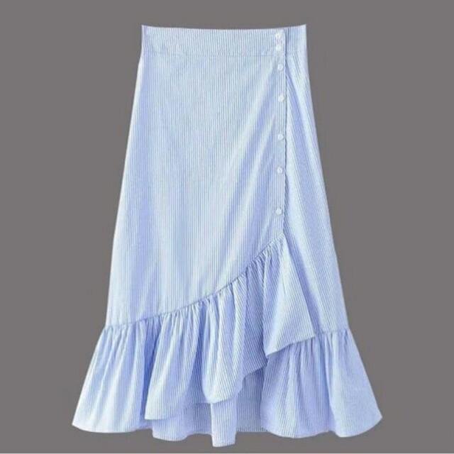 Pinstripe skirt with ruffles