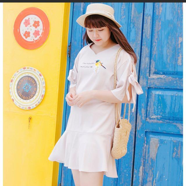 **轉賣Poly lulu* 條紋小鳥布章綁結袖洋裝