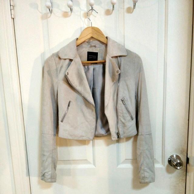 PORTMANS Beige Genuine Suede Jacket - Size 6