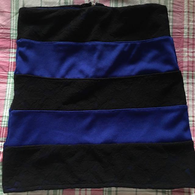 Preloved Pink Manila Black/Blue Bondage Skirt