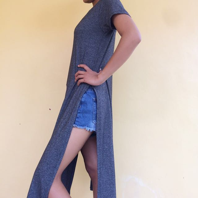 ⚡️SALE! Gray High Slit Maxi Casual Dress