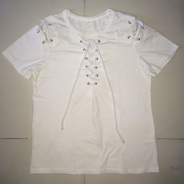 Shein White Laced Up Shirt
