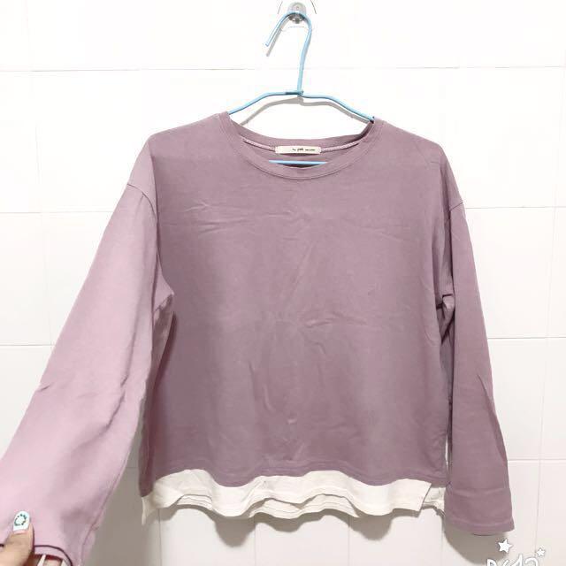 韓國🇰🇷粉紫微寬袖拼接素T