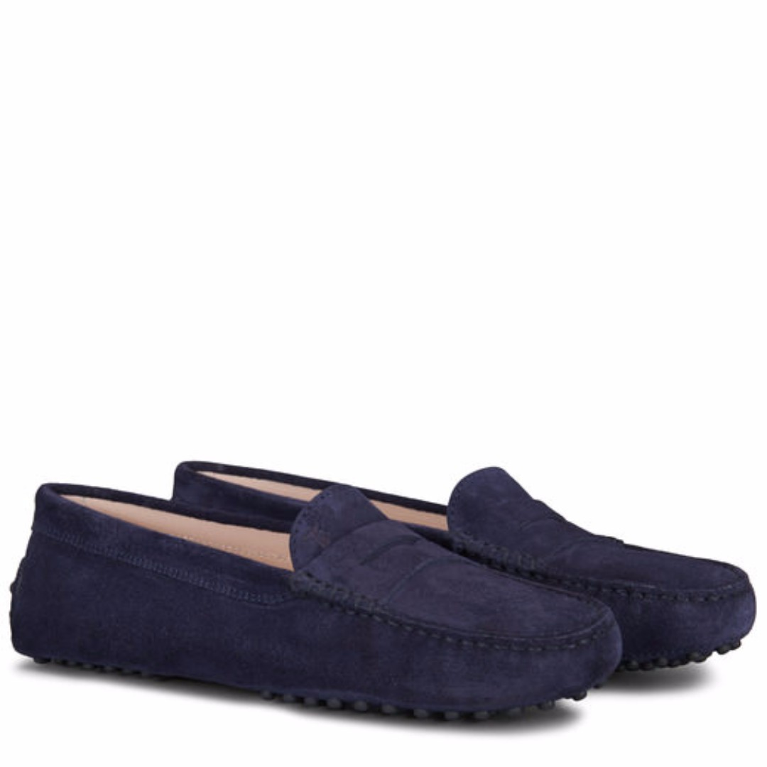 696069e024e Tod's Ladies Gommini Driving Shoes in Blue Suede - Loafers, Women's ...