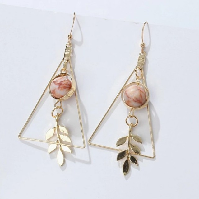 Triangle marble bead earrings
