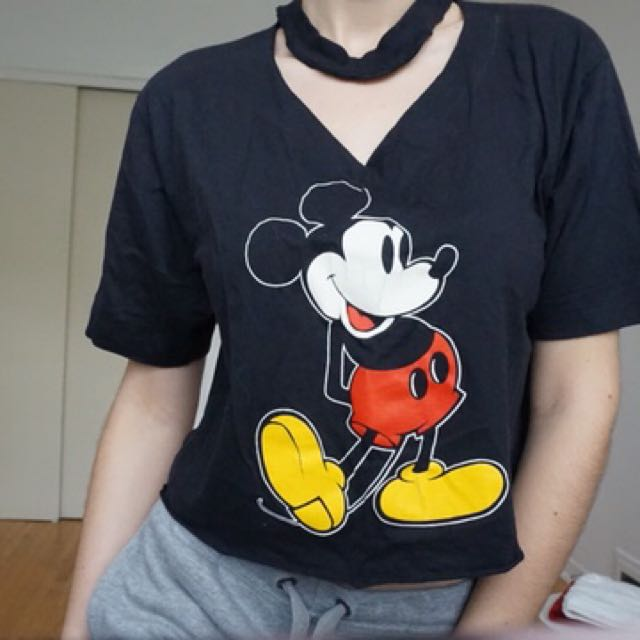 Vintage cropped choker neck style mickey mouse tshirt in black