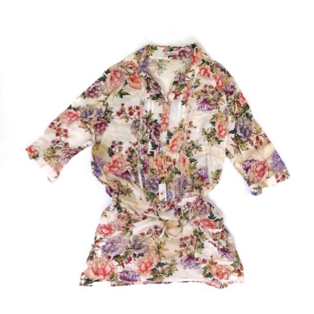 Vintage Floral Print Blouse