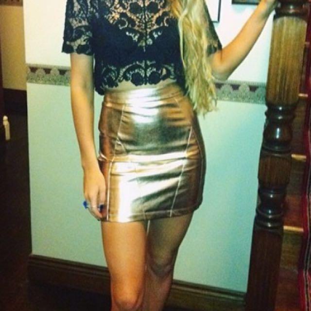 Vintage gold leather skirt