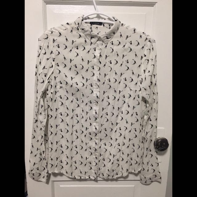 White button down shirt with a cat print