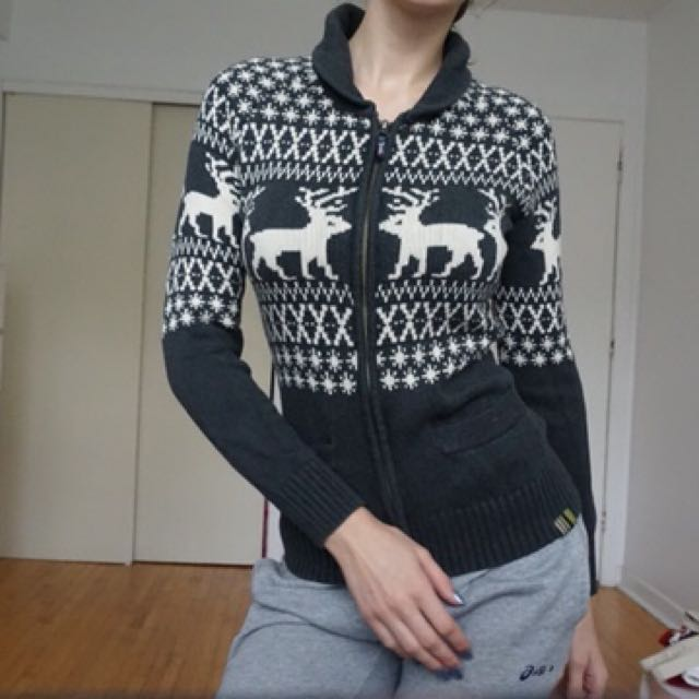 Winter Christmas Sweater with Reindeer