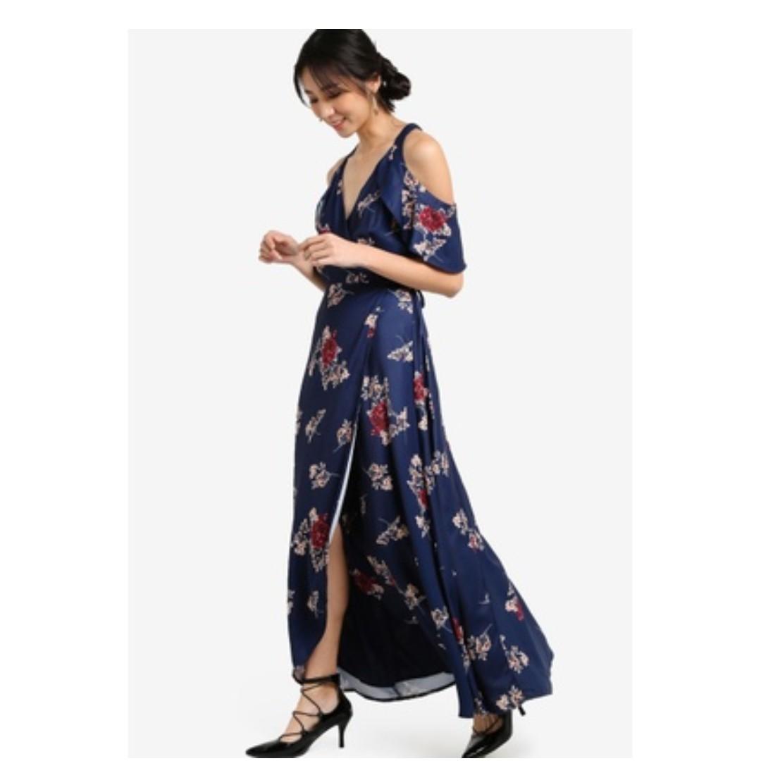 Zalora Floral Cold Shoulder Wrap Maxi Dress