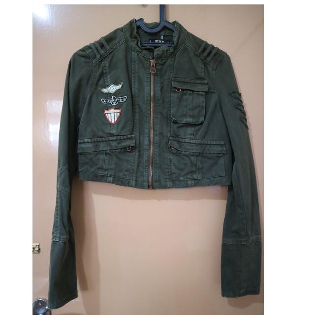 Zara TRF army crop jacket vintage