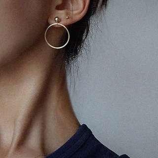 Gold stud with hoop earrings