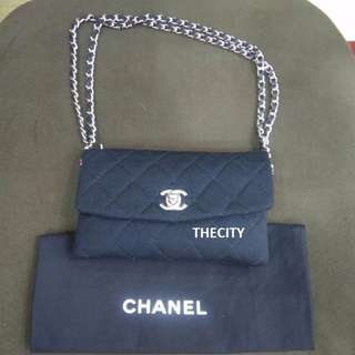 AUTHENTIC CHANEL SMALL QUILTED CHAIN BAG IN CANVAS