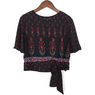 Sasha Blouse in BLACK/RED FLOWERS