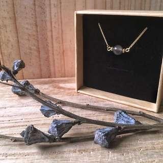 🇱🇰Black moonstone斯里蘭卡黑色月光石純銅頸鍊鎖骨項鍊