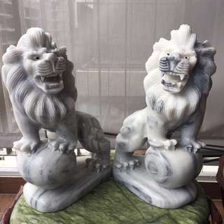 Pair Of Solid Marble Lion