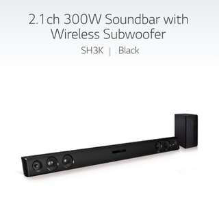 LG SH3K : 2.1ch 300W soundbar with wireless subwoofer