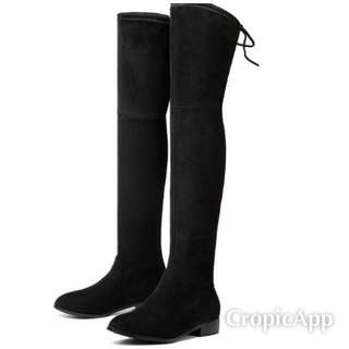 Black faux suede over the knee boots size 9