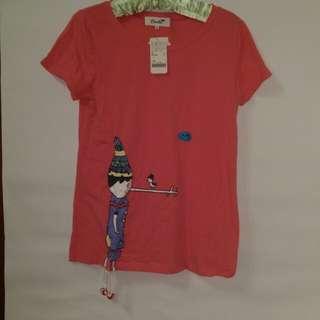 Dailo桃紅趣味鳥偶相伴上衣