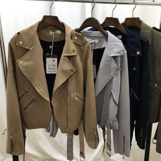 ❤️ 麂皮拉鍊歐美設計 騎士短版外套