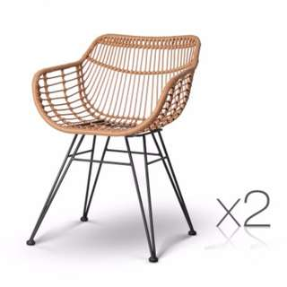 Set of 2 Rattan Dining Chair Natural