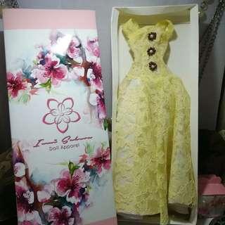 Lemon Lace full length gown Barbie dress