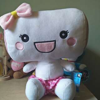 Pink Simling Marshmallow Plush Toy.