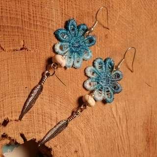 Blue flowers dangle earrings